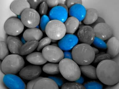 Alleen blauwe M&M's
